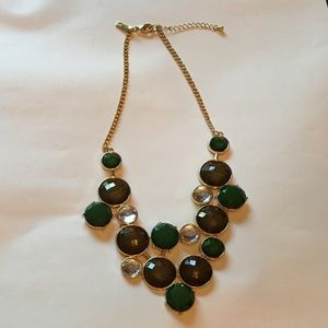 Necklace - Beautiful Green, Brown, Clear Artwork!